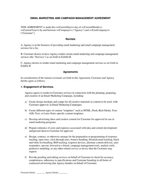 Email Marketing And Caign Agreement If You Are Going To Perform Email Marketing And Promotion Agreement Template