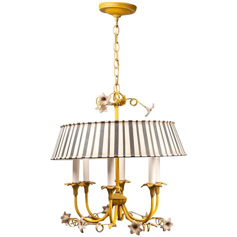 Italian Tole Chandelier With Striped Shade Pia S Antique Antique Tole Chandelier