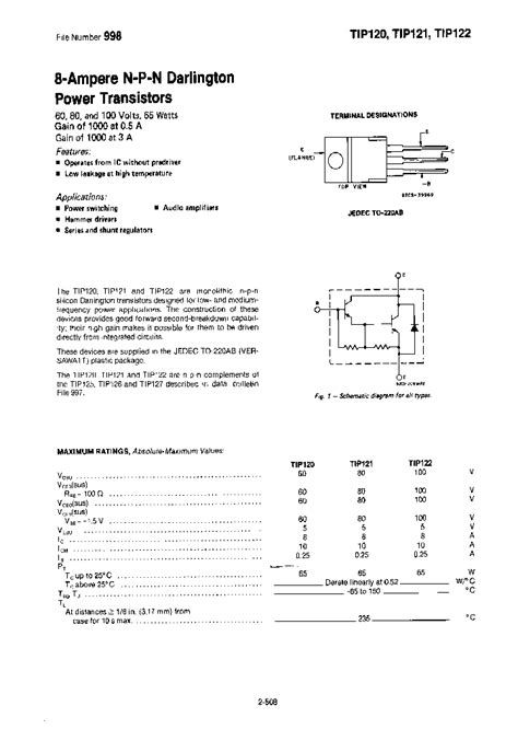 transistor tip122 datasheet pdf tip122 6226 3819521 pdf datasheet ic on line