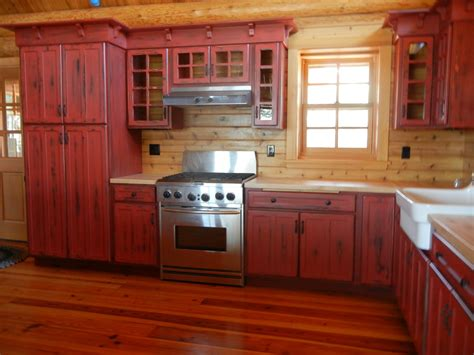cabin kitchen cabinets log cabin red kitchen cabinets kitchen cabinet