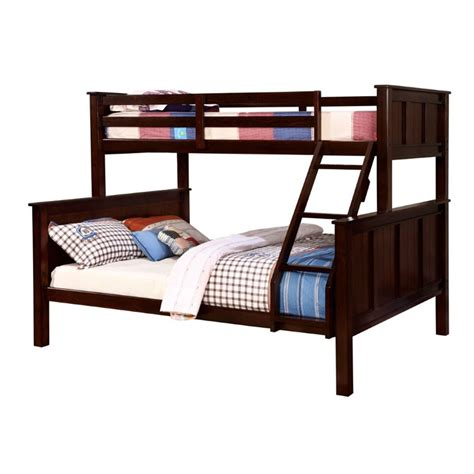 bunk bed queen and twin furniture of america cory twin over queen bunk bed in dark