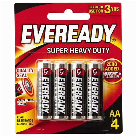 eveready heavy duty batteries aa 4 pack the warehouse