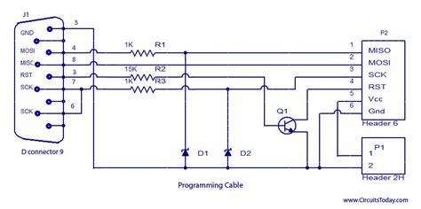 software reset in avr isp programmer for atmega32 microcontroller circuit