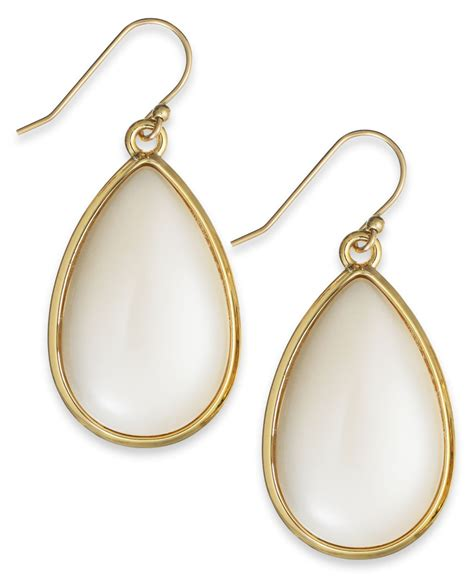 kate spade new york gold tone imitation pearl teardrop