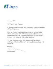 dean foods recommendation letter
