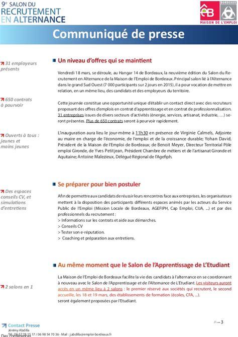 dossier presse salon recrutement alternance bordeaux 2016
