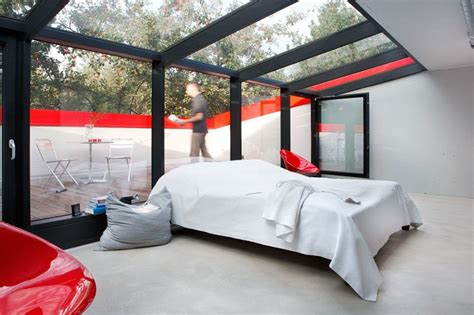 glass ceiling bedroom modern red house looks trendy on a small budget