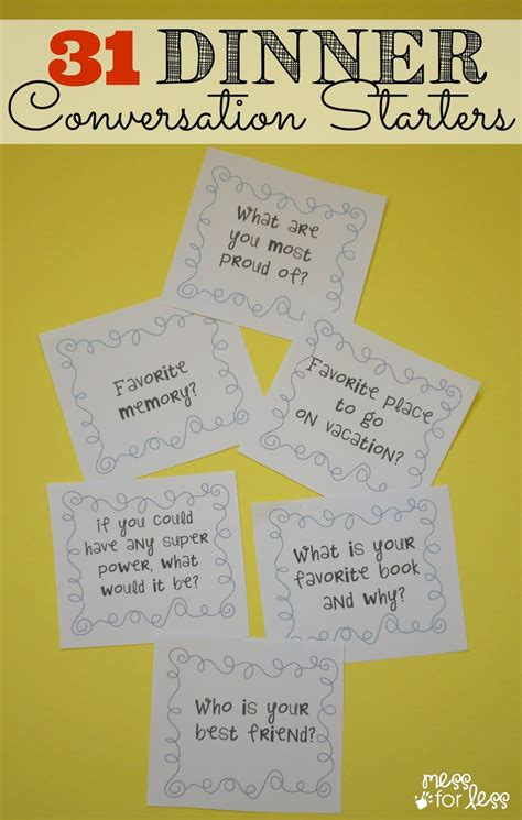 dinner conversation questions 31 dinner conversation starters free printable mess