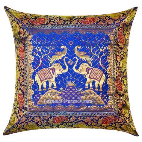 Silk Decorative Pillows Blue Two Elephants And Birds Featuring Decorative Silk