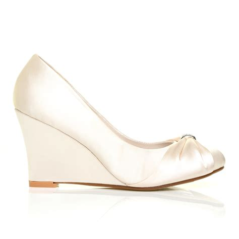 ivory satin wedge high heel bridal court shoes ebay