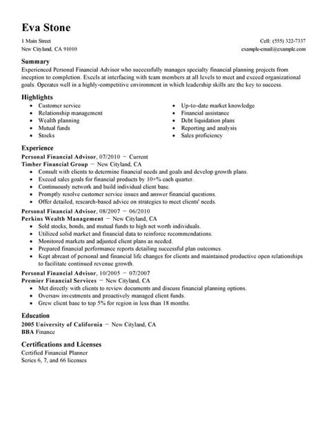 Financial Advisor Resume by Best Personal Financial Advisor Resume Exle Livecareer