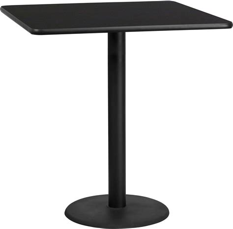 round bar top table 42 quot square black laminate table top with 24 quot round bar