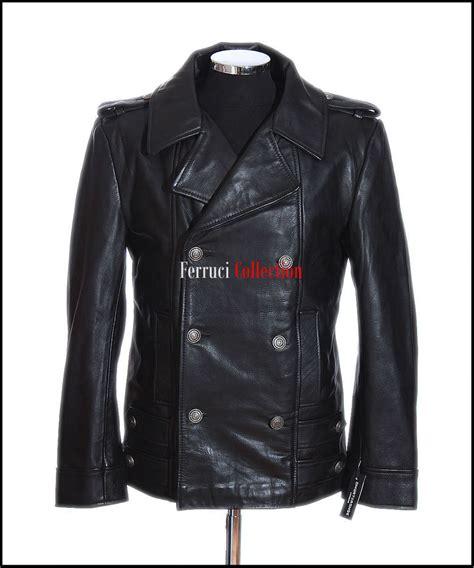 black leather pea coat mens s german black naval analine cowhide real leather jacket pea coat ebay