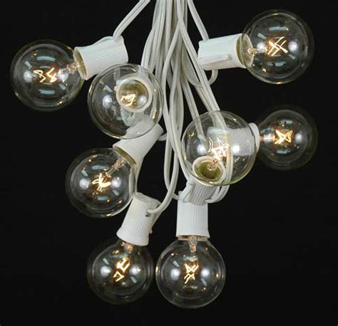 Clear G50 Globe Round Outdoor String Light Set On White Clear Globe String Lights White Wire