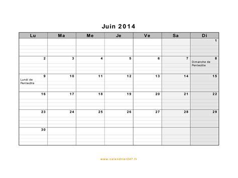 Calendrier Juin Calendrier Juin 2014 224 Imprimer Gratuit En Pdf Et Excel