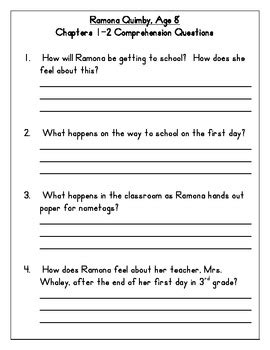 Ramona Quimby, Age 8 Comprehension Questions by Jennifer