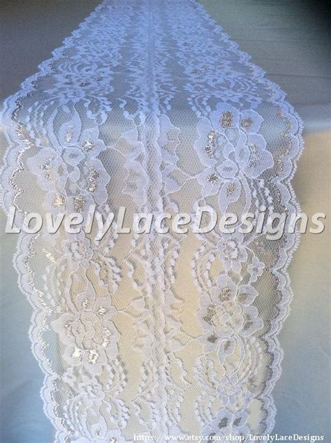 silver lace table overlay 5ft 10ft white silver lace table runner 8in wide silver