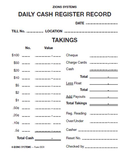 dcr daily cash register pad zion pack 10 dcr office
