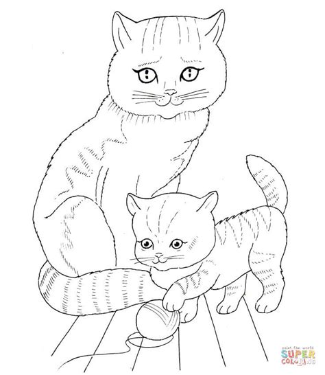 animal coloring pages kitten cat mother and kitten coloring page free printable