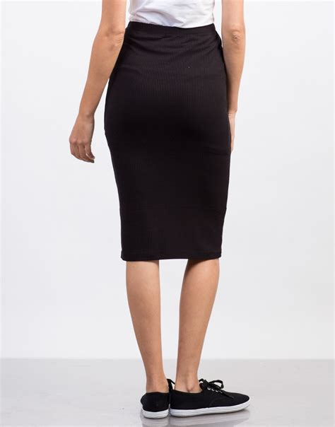 solid ribbed pencil skirt black casual pencil skirt