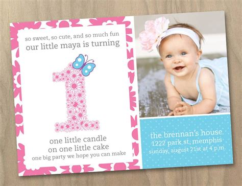 1st birthday invitations girl free template personalised baby girl first 1st birthday photo invitation flowers