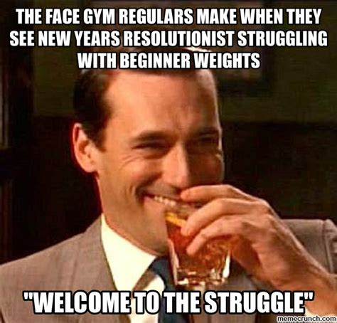 New Year S Gym Meme - the face gym regulars make when they see new years