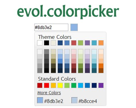 color picker from website evol colorpicker jquery ui widget for color picking