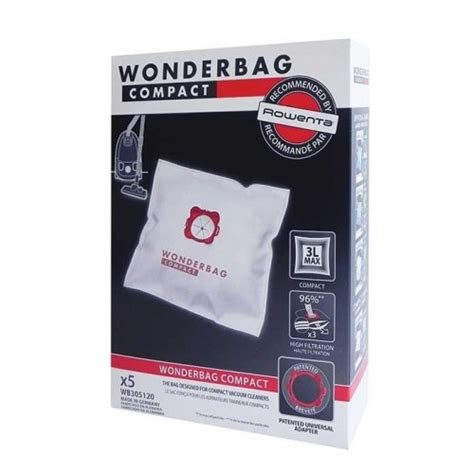 sacs universels rowenta wonderbag compact aspirateur wb305120