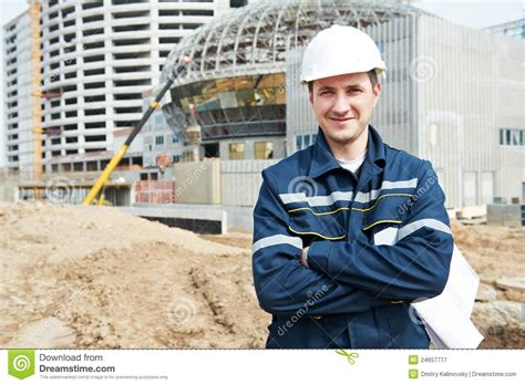 Construction Foreman by Foreman At Construction Site With Working Drawings Stock Image Image Of Engineering Craftsman