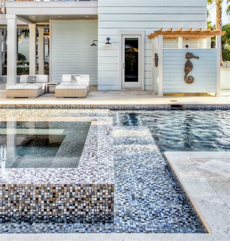 swimming pool with mosaic tiles cottage pool beach chic design