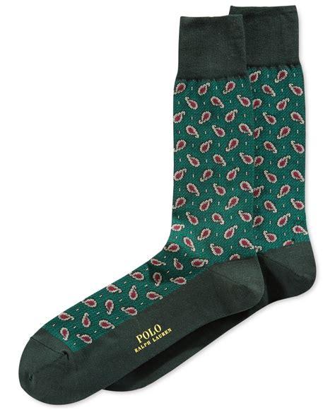 paisley pattern socks polo ralph lauren textured paisley socks in green for men