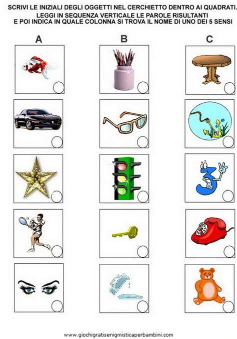 parole di 6 lettere i 5 sensi il tatto g giochi enigmistici per bambini