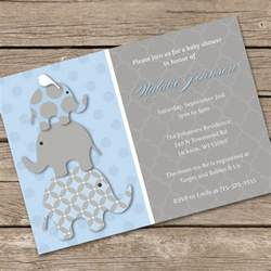 diy baby shower invitations template stacked blue elephants baby shower invitation diy