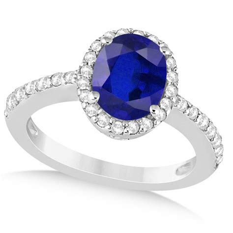oval halo blue sapphire engagement ring setting 14k white