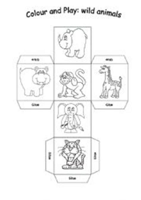 printable animal dice english worksheets wild animals dice