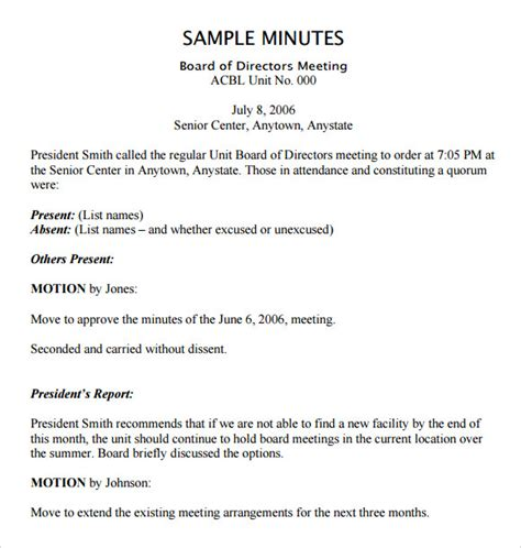 template of minutes of meetings exles board meeting agenda 11 free sles exles format