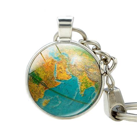 Hadiah Gantungan Kunci Negara Malaysia earth globe liontin gantungan kunci hadiah guru dunia travel kunci cincin petualang dunia