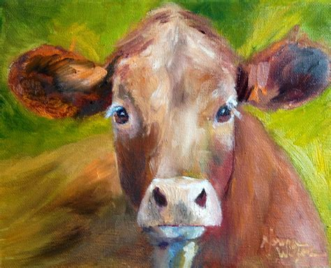 Norma Wilson Art Norma Wilson Original Oil Calf Cattle Cow Farm Animal Painting Art Animal Painting For
