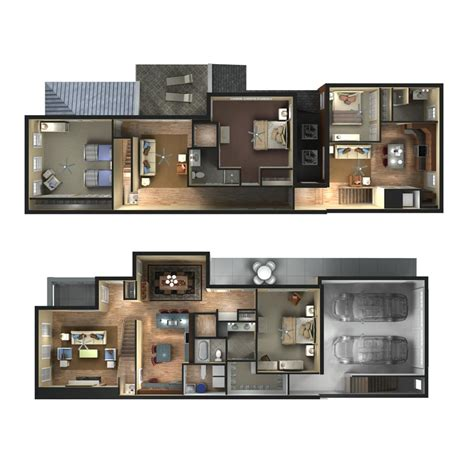 townhome floor plan 3d townhome floor plan rendering d plans drawings