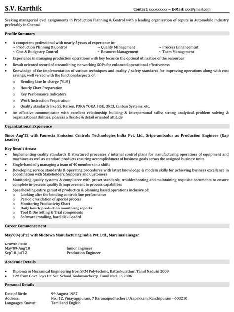 resume sles for production engineer cv template govt choice image certificate design and