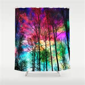 items similar to colorful shower curtain colorful forest