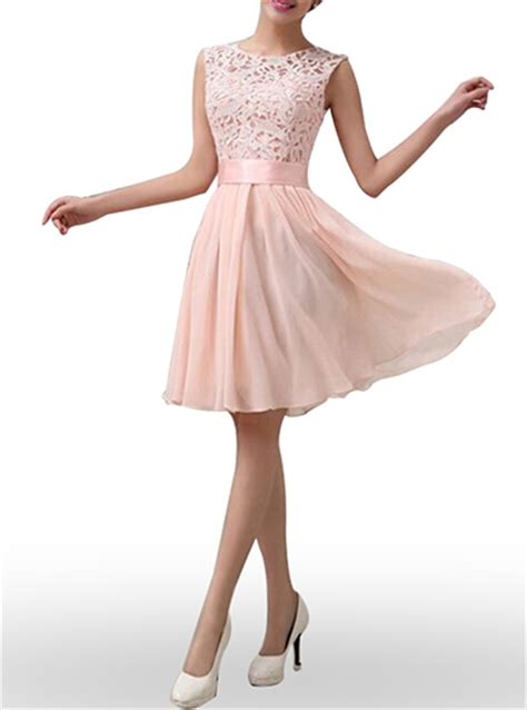 Klething Manggar Pink Dress 7 8th chiffon dress pale pink lace fit and flare sleeveless