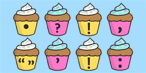 punctuation marks on cupcakes punctuation vcop flashcard