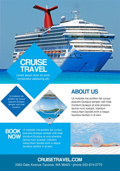 Cruise Travel A Promotional Flyer Http Premadevideos And Cruise Ship Vacation Brochure Templ Free Cruise Ship Flyer Template