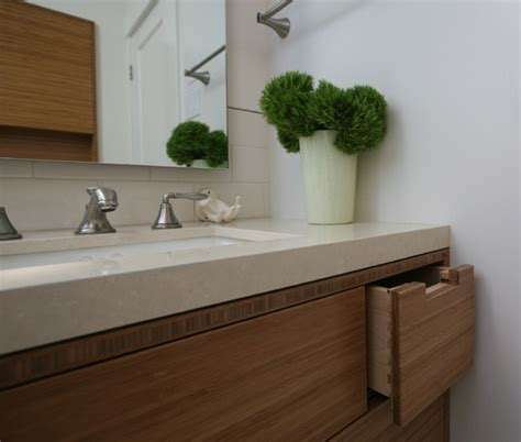 Bamboo Bathroom Countertops by Ceasarstone Countertop With Bamboo Cabinets Bathroom