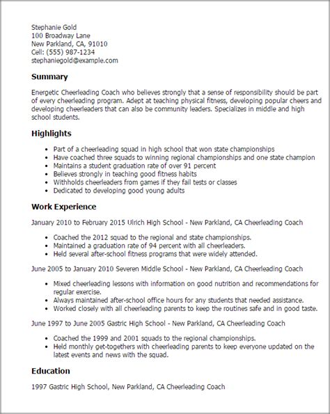 1 Cheerleading Coach Resume Templates Try Them Now Myperfectresume Cheerleading Donation Letter Template