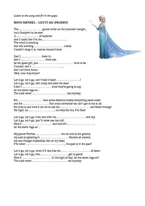 frozen madonna testo song worksheet let it go by idina menzel quot frozen quot