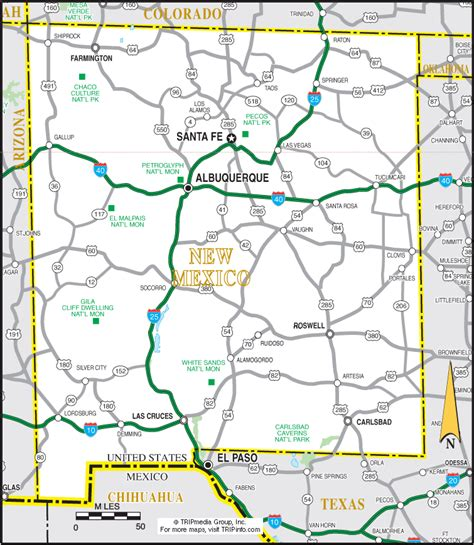 road map of nm new mexico map