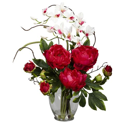 flowers arrangements peony and orchid silk flower arrangement 1175