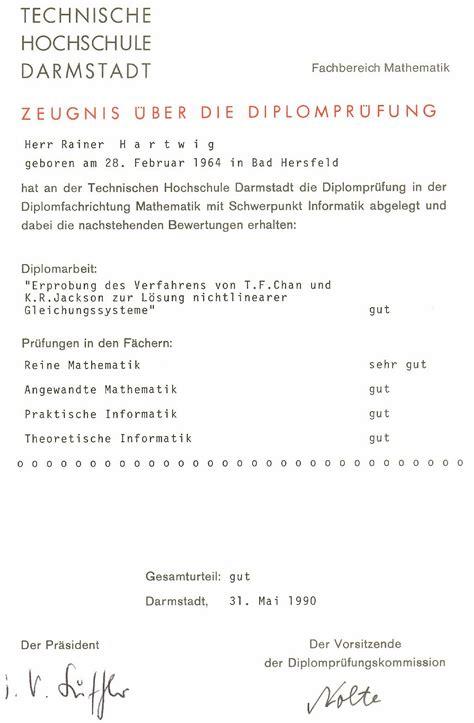 Zeugnisse Lebenslauf Englisch Lebenslauf Rainer Hartwig